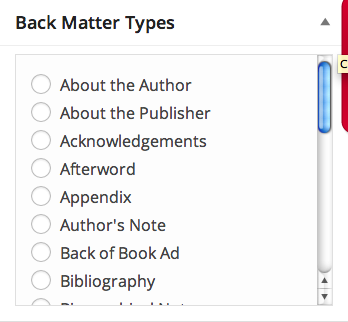 Back matter menu in Pressbooks
