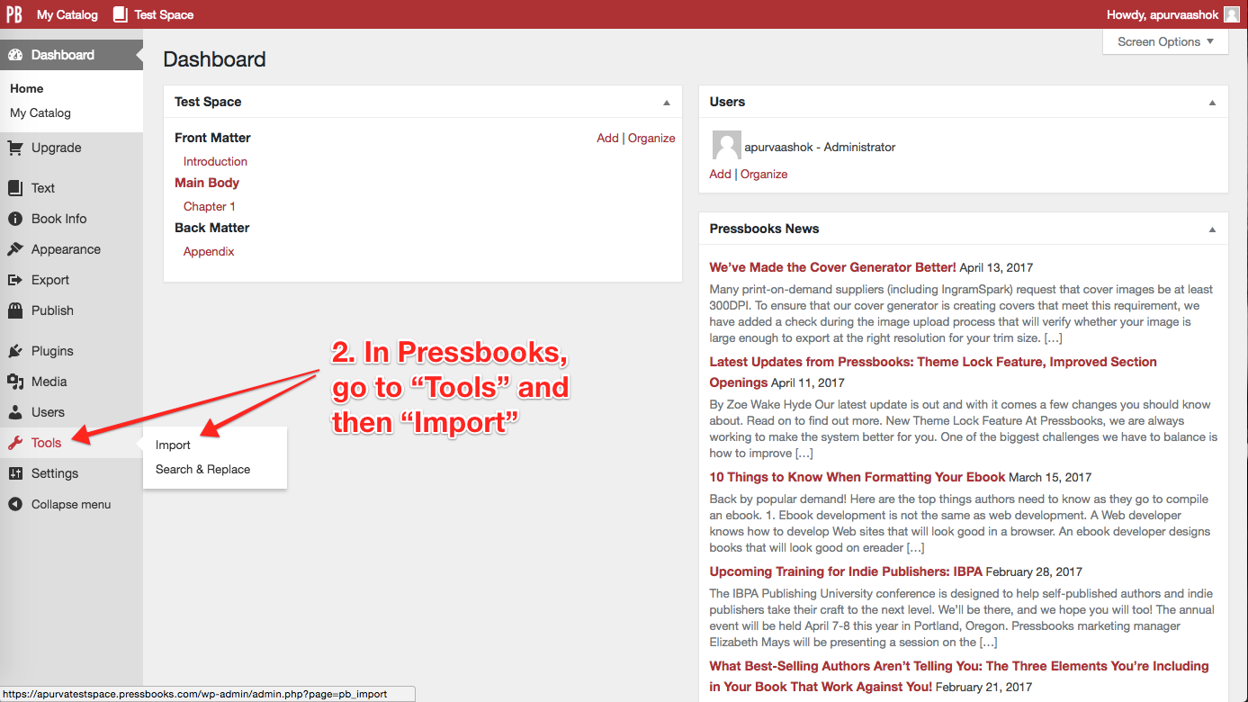 Step 2. Go to the Import Tool in Pressbooks
