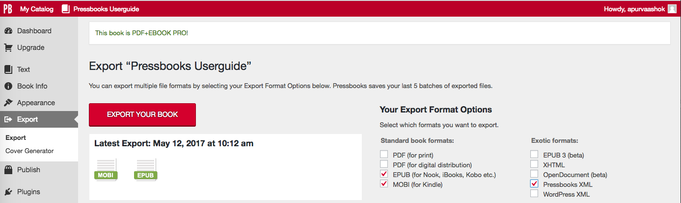 How to export Pressbooks XML
