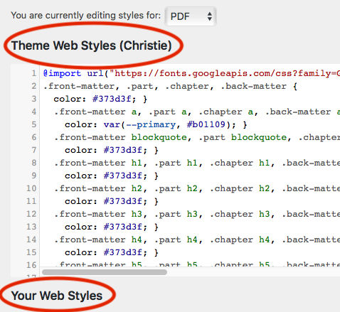 The export format can be found above the style sheet and above Your Styles on the Custom Styles page.