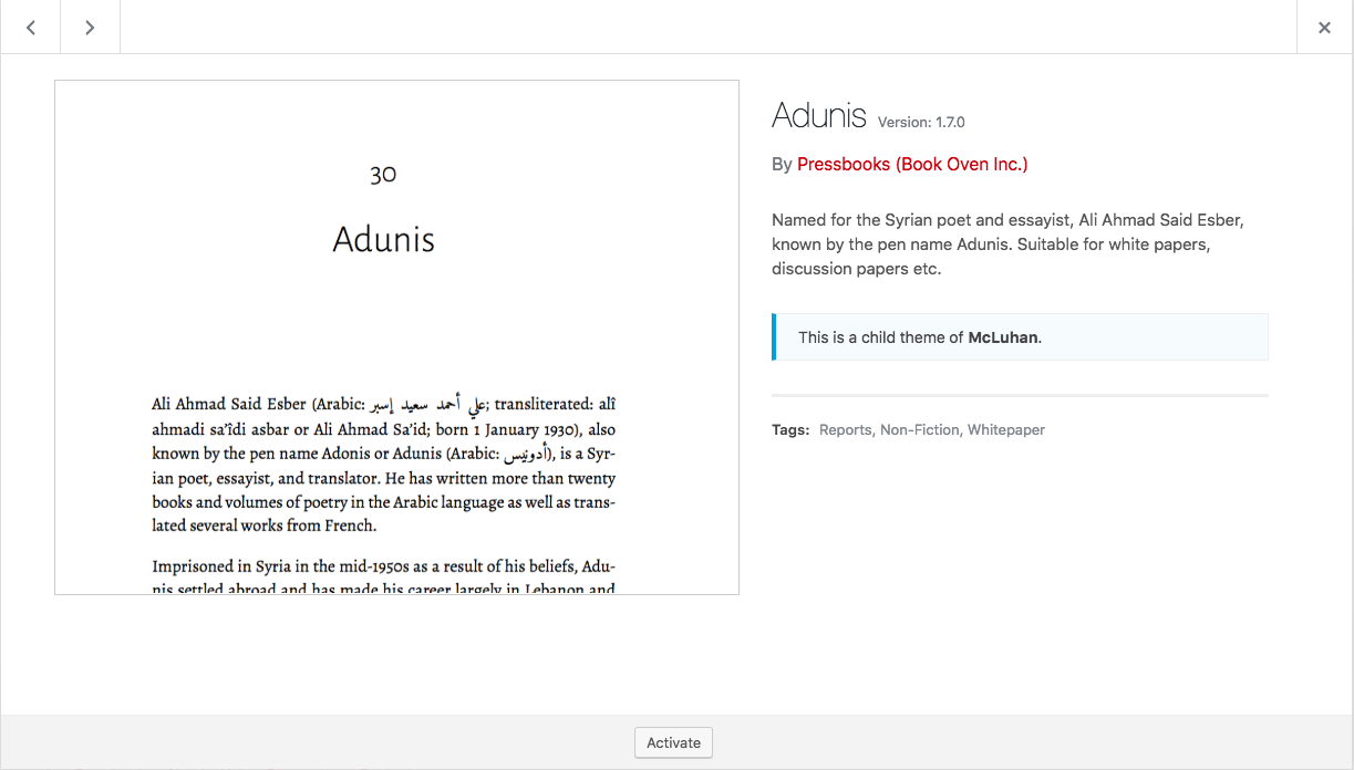 The theme details for the Adunis theme.